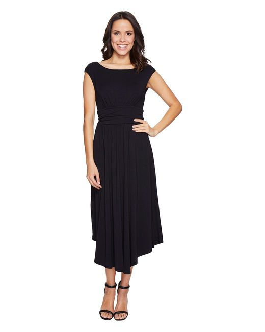 Mod-o-doc - Black Cotton Modal Spandex Jersey Shirred Waist Tank Dress - Lyst