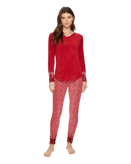 Lucky Brand - Red Printed Microfleece Pajama Set - Lyst