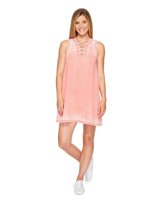 Allen Allen - Pink French Terry Tie Front Dress - Lyst