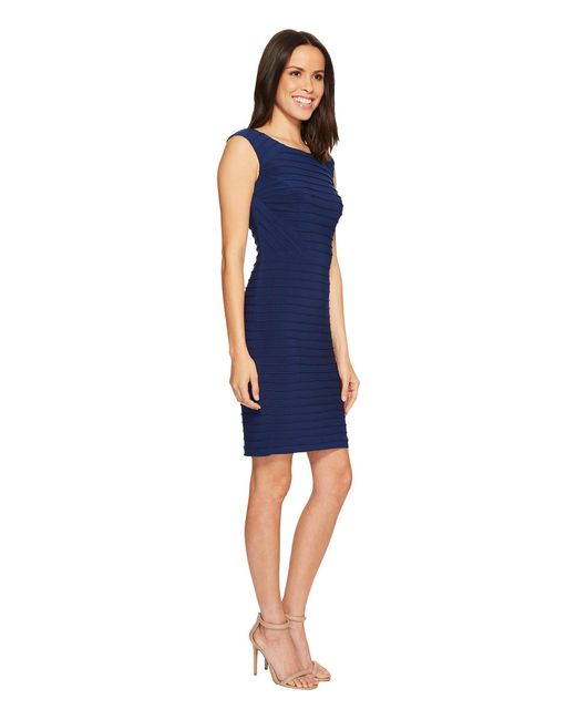 b1a402e4e7a ... Adrianna Papell - Blue Matte Jersey Banded Dress With Lace Yoke And  Sleeves - Lyst