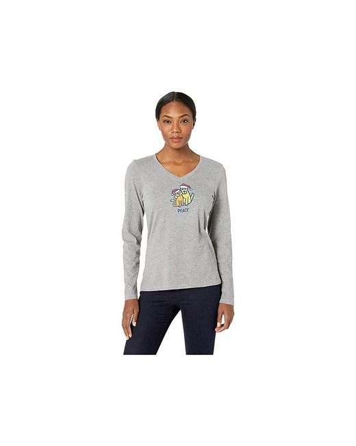 3b44af5d2 Life Is Good. - Peace Cat And Dog Crusher Long Sleeve Vee (heather Gray ...