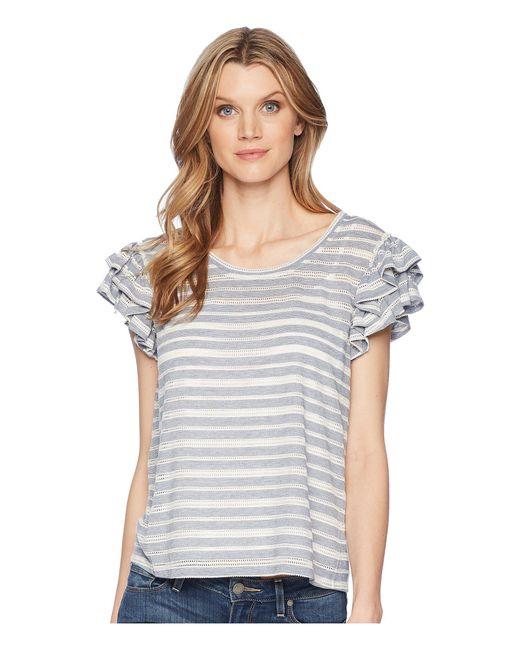 31d02e439c6b4 Ivanka Trump - Gray Knit Striped Ruffle Sleeve Off The Shoulder Top - Lyst  ...