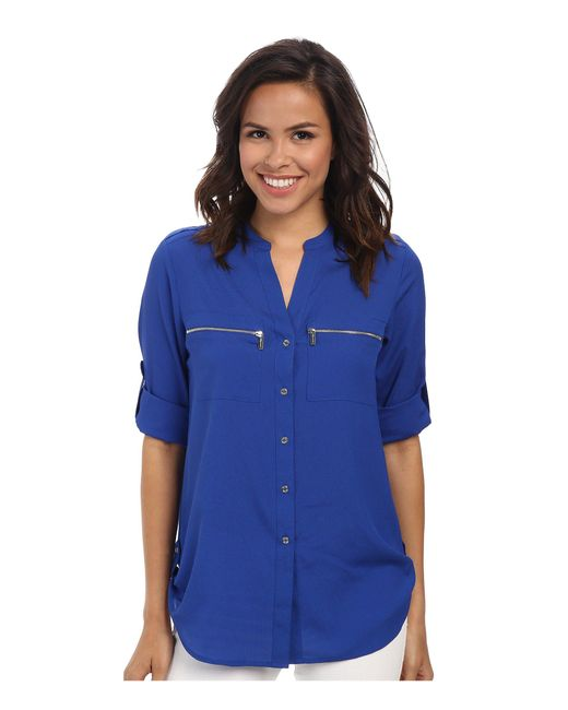CALVIN KLEIN 205W39NYC - Blue Zipper Roll Poly Cdc Sleeve - Lyst
