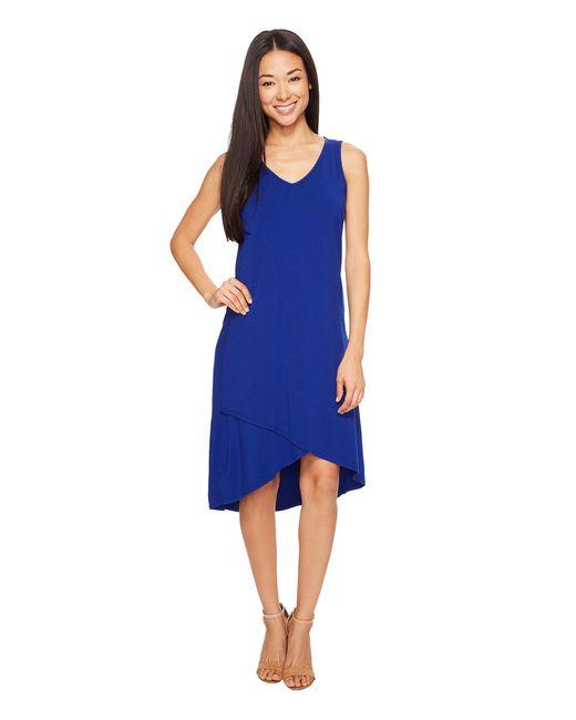 Mod-o-doc - Blue Cotton Modal Spandex Jersey Crossover Hem Dress - Lyst