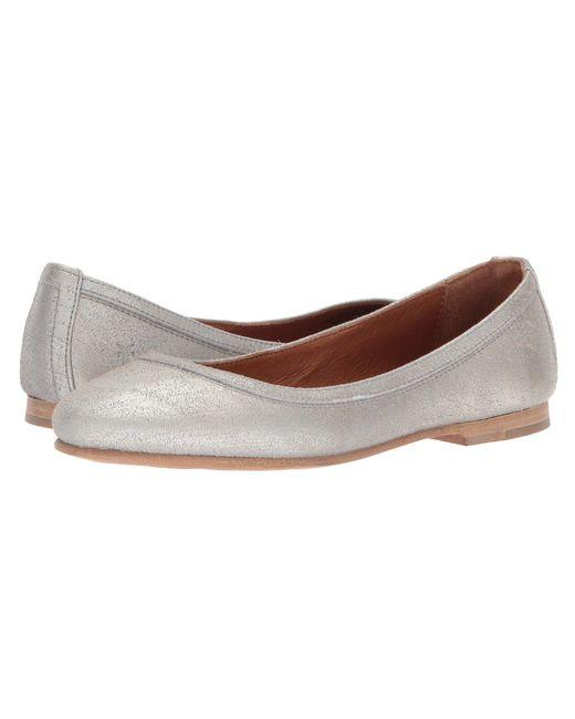 Frye - Metallic Carson Ballet Leather Flat - Lyst