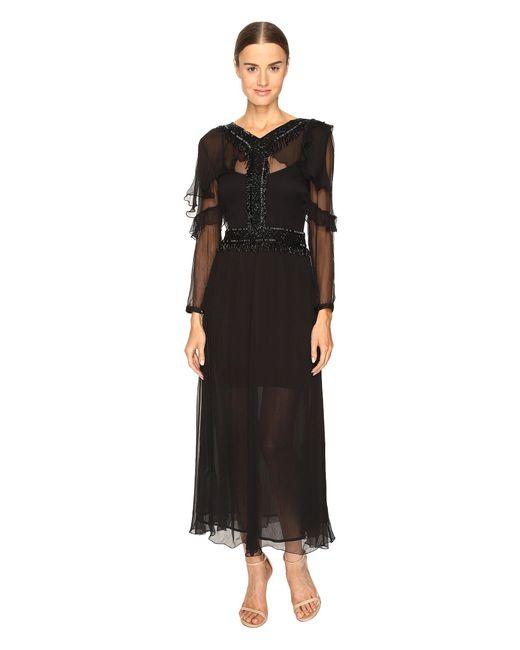 Just Cavalli - Black 3/4 Sleeve Sheer Embellished Gown - Lyst