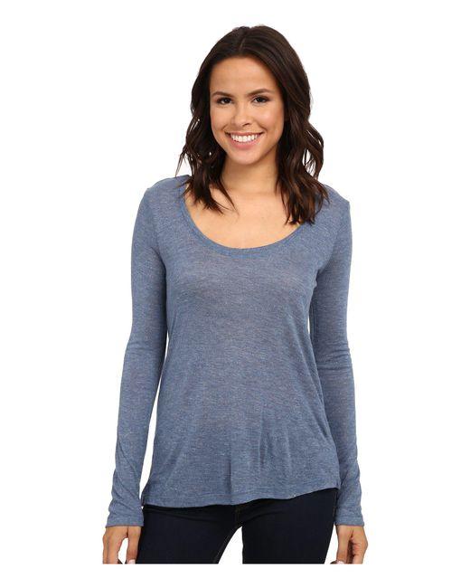 Splendid - Blue 1x1 V Neck T-shirt - Lyst