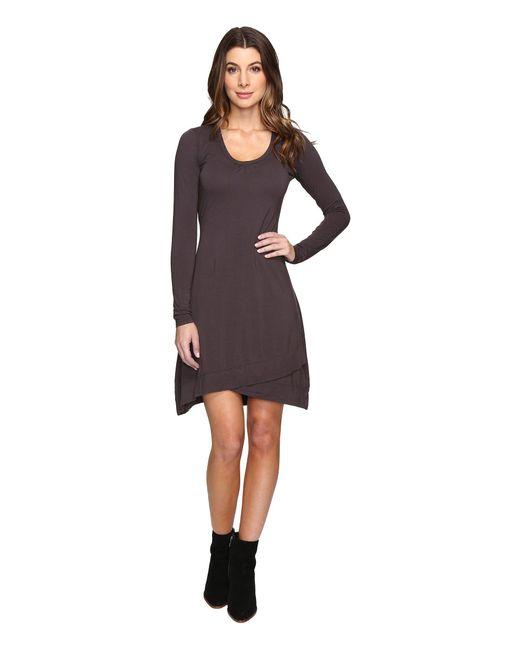 Mod-o-doc - Purple Cotton Modal Spandex Jersey Crossover Hem Dress - Lyst