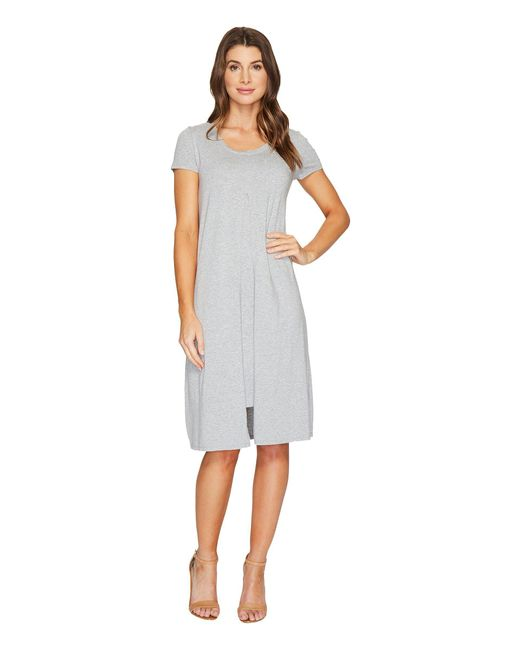 Mod-o-doc - Gray Cotton Modal Spandex Jersey Short Sleeve Flyaway Layered T-shirt Dress - Lyst