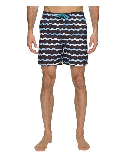 Original Penguin - Blue Watercolor Wave Print Swim Shorts for Men - Lyst