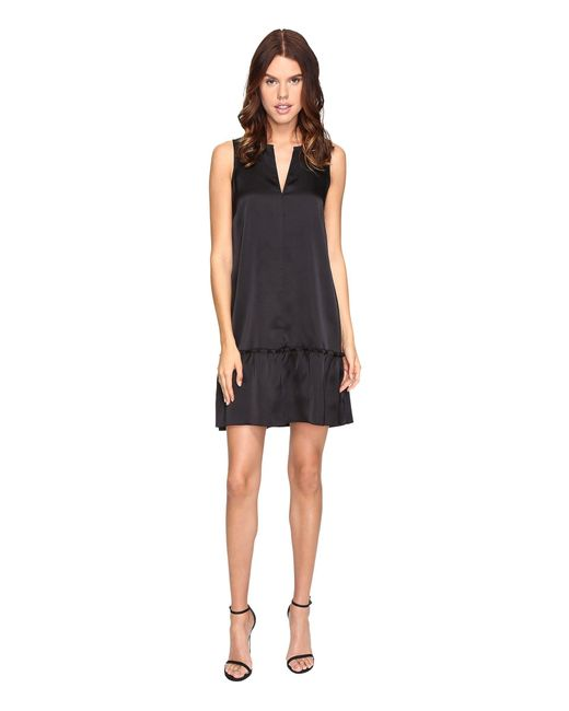 ATM - Black Sleeveless Dress With Ruffled Bottom - Lyst