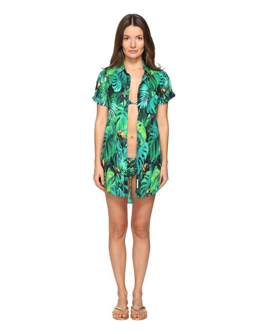 Onia - Green Jesse Printed Button Cover Up - Lyst
