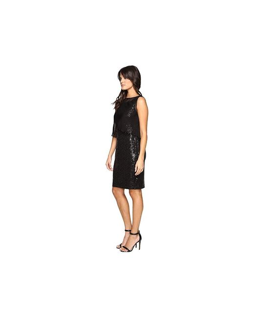 07324f7e560ad ... Ellen Tracy - Sequin Dress W/ Removable Chiffon Layer (black) Dress -  Lyst ...
