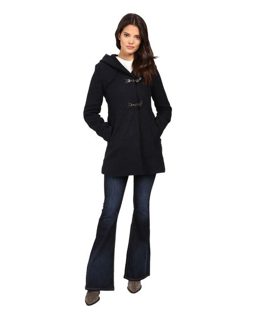 Jessica Simpson - Blue Braided Wool Duffle Coat With Hood - Lyst