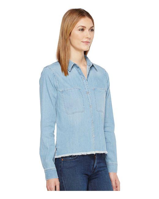 0b6b6141cbd ... 7 For All Mankind - Step Hem Denim Shirt In Skyway Authentic Blue - Lyst