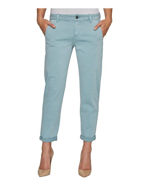 Liverpool Jeans Company | Billy Trousers Rolled-cuff In Stretch Peached Twill In Slate Blue | Lyst