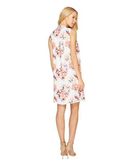 7eab2a46fafd0 ... Cece - White Sleeveless Garden Blooms Tie Neck Swing Dress - Lyst ...
