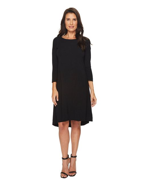Mod-o-doc - Black Cotton Modal Spandex Jersey 3/4 Sleeve Lace-up Back Dress - Lyst