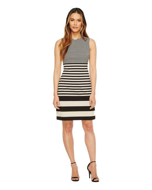 CALVIN KLEIN 205W39NYC - Black Sleeveless Stripe Sheath Dress - Lyst