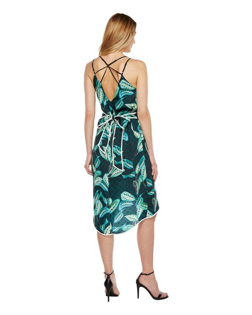Adelyn Rae - Green Havana Woven Printed Slip Dress - Lyst