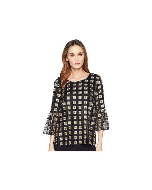 d8eb2c58aa6b Calvin Klein - Embroidered Net Bell Sleeve Blouse (black/gold) Blouse - Lyst  ...