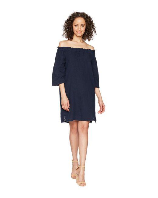 Allen Allen - Blue Ruffle Edge Linen Dress - Lyst