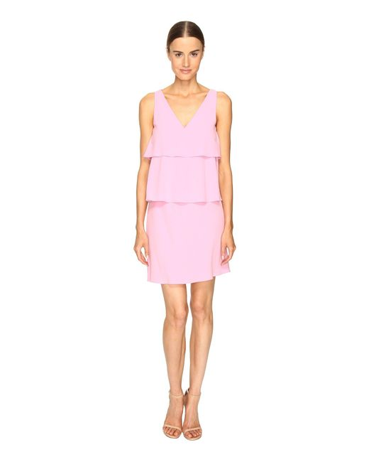 Boutique Moschino - Pink Tiered Ruffle Dress - Lyst