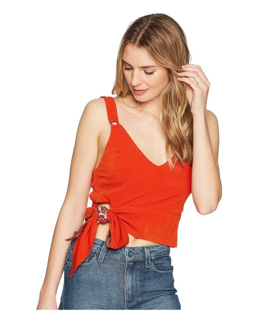 Free People - Red Paisley Pop Tank Top - Lyst
