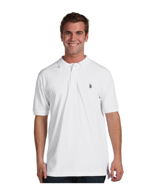 U.S. POLO ASSN. - White Solid Cotton Pique Polo With Small Pony for Men - Lyst