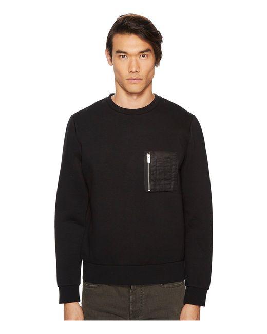 The Kooples - Black Athletic Sweatshirt W/ Leather Details for Men - Lyst