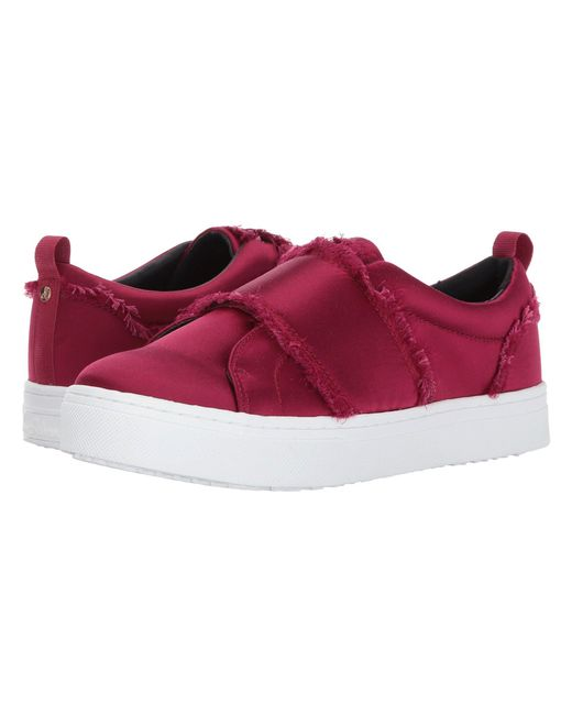 53560f13198cd Lyst - Sam Edelman Levine Satin Sneakers in Red - Save 71%