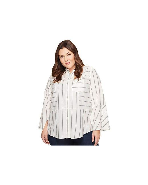 492f079b6 Two By Vince Camuto - White Plus Size Bell Sleeve Yarn-dye Stripe Collared  Shirt ...