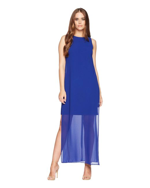 Chaps - Blue Georgette-overlay Jersey Long Dress - Lyst