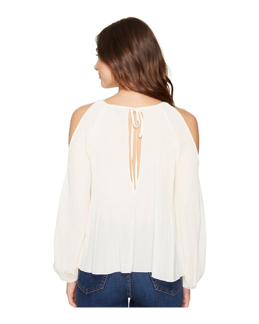 e103b838747129 ... Romeo and Juliet Couture - Natural Cold Shoulder Pleated Top - Lyst ...