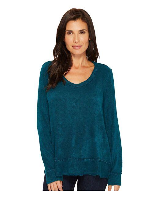 Mod-o-doc - Blue Chenille Sweater Knit Forward Seam Long Sleeve Sweater - Lyst