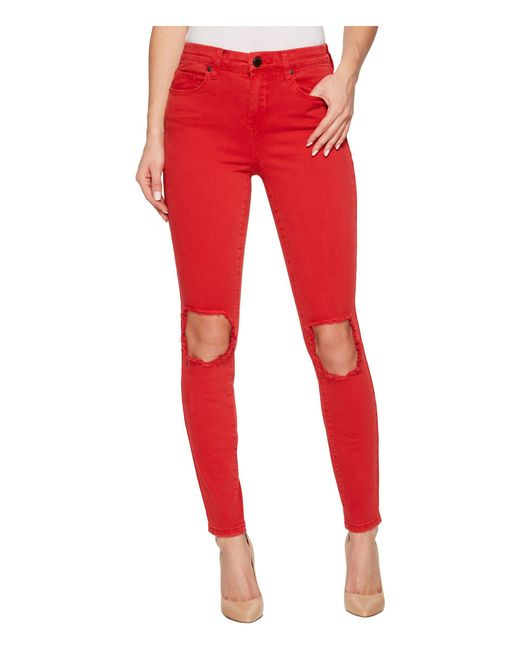 Blank NYC - Mid-rise Distressed Skinny In Better Off-red - Lyst