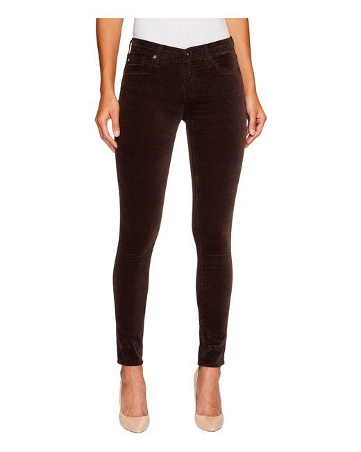 AG Jeans - Brown The Velvet Legging In Dark Oakwood - Lyst