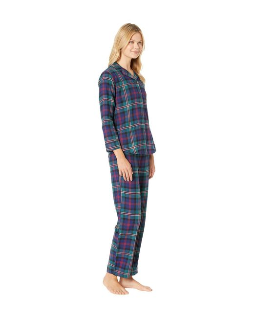... Lauren by Ralph Lauren - Blue Brushed Twill Long Sleeve Classic Notch  Collar Pajama Set ... bc9ef21d2
