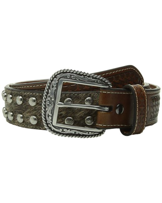 Ariat | Brown Studded Concho Hair Calf Belt for Men | Lyst