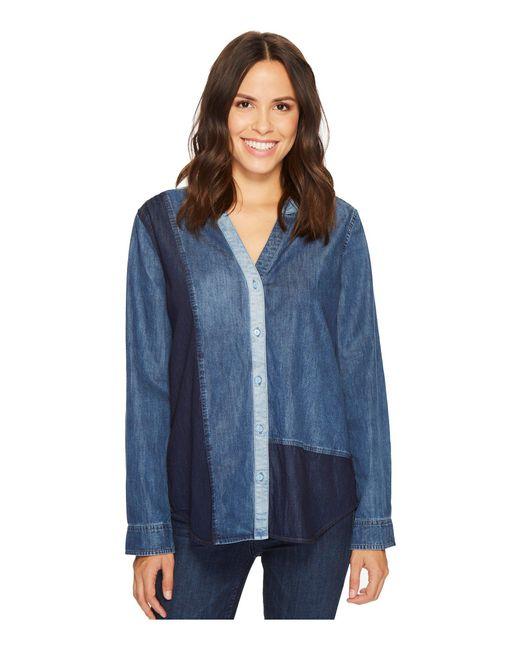 NYDJ - Blue Mixed Wash Denim Shirt - Lyst