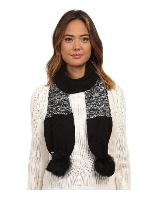 Ugg | Black Classic Marled Scarf W/ Sequins And Fur Pom | Lyst
