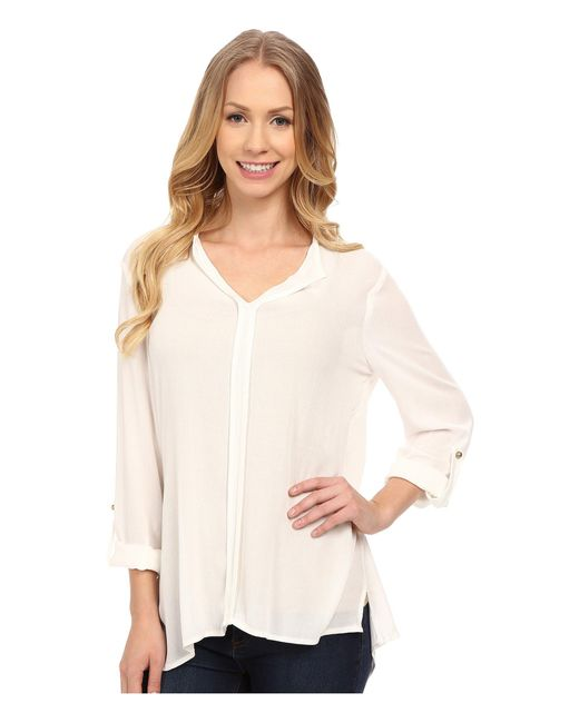 B Collection By Bobeau | White Pleat Back Woven Blouse | Lyst