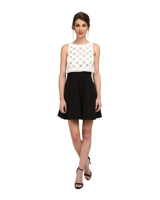 Aidan Mattox | Black Beaded Popover Top With Solid Skirt | Lyst