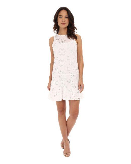 MICHAEL Michael Kors   White Eyelet Godet Dress   Lyst