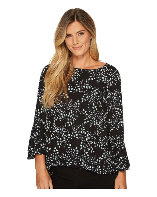 a58af3ab4f2e7 Vince Camuto - Black Cascading Leaves Flare Cuff Fold-over Blouse - Lyst ...