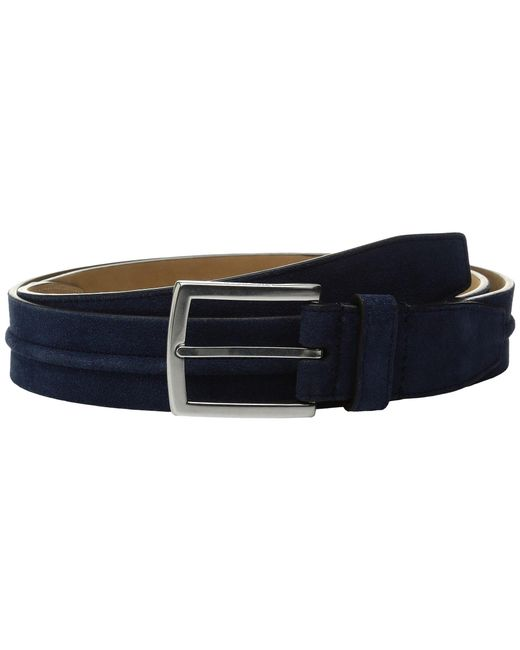 Cole Haan   Blue 35mm Suede Belt With Filled Center Detail for Men   Lyst