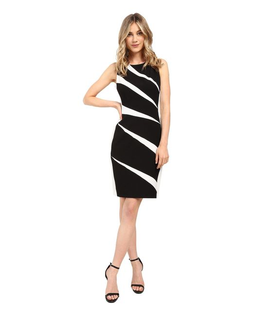 Adrianna Papell | Black Radiating Inserts Crepe Sheath Dress | Lyst