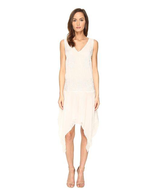Just Cavalli | White Sleeveless V-neck Embroidered Handkerchief Hem Dress | Lyst