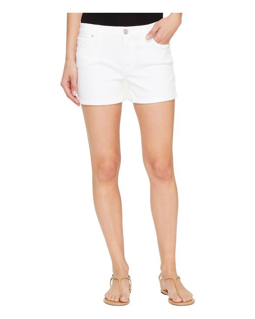 Hudson | Asha Mid-rise Cuffed Five-pocket Shorts In White | Lyst