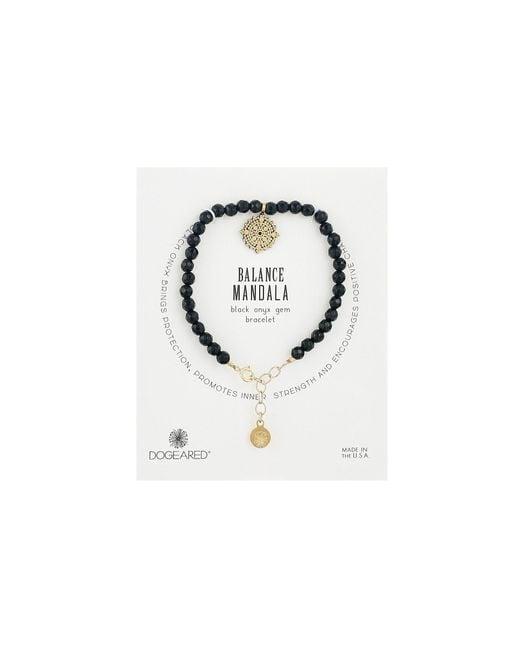 Dogeared - Metallic Gem Bracelet, Balance Mandala, Small Balance Mandala, Black Onyx Bead - Lyst